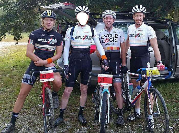 L to R: Pfaff Junior, Dr. Pain (face hidden to protect the innocent), Pfaff Daddy (not in the correct kit!), Jimbo.