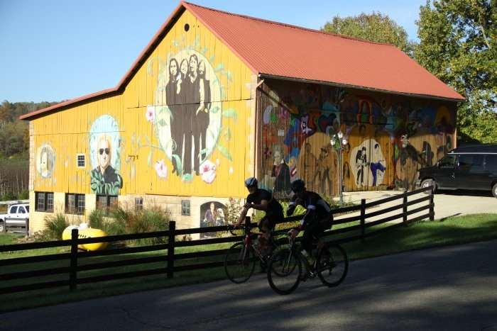Riders cruising past the Rock N' Roll Barn near Clark, OH.
