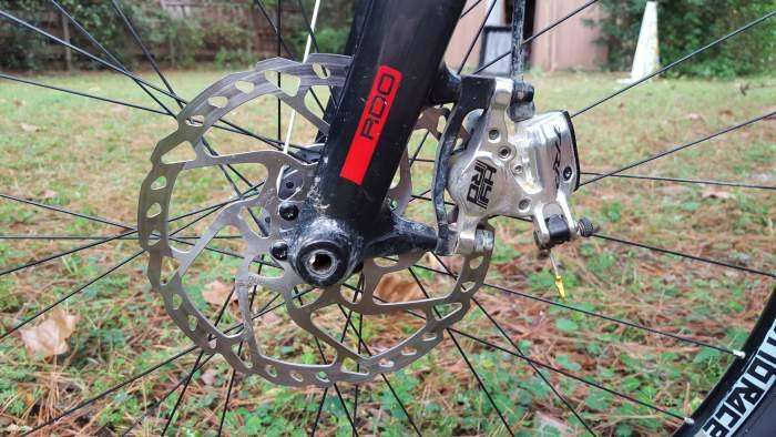 183mm rotor up front with TRP's venerable HY/RD caliper.