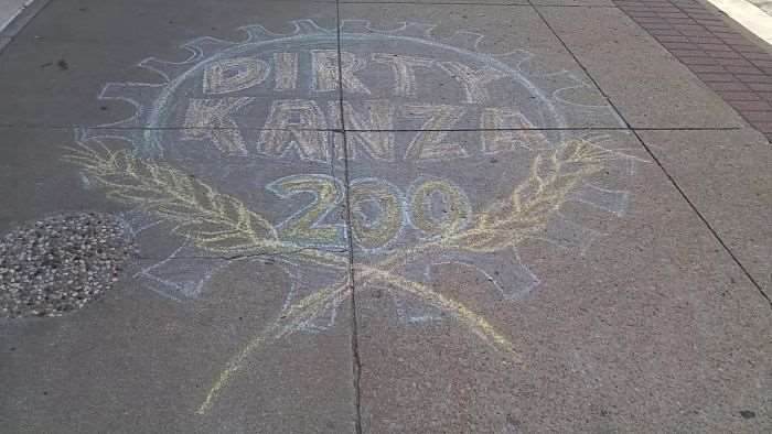 The sidewalks of Emporia were decorated in chalk drawings.