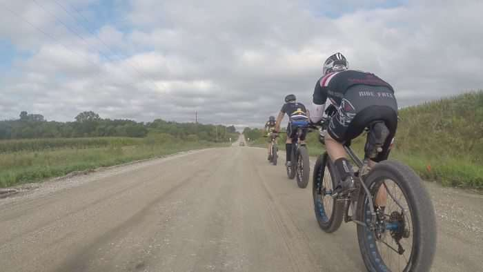 Fat bike train. If you think fat bikes are slow, think again.