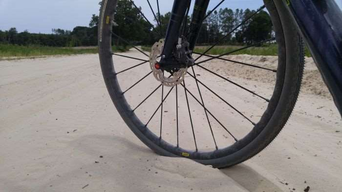 "No ""narrow"" gravel tyre can deal with this sand..."