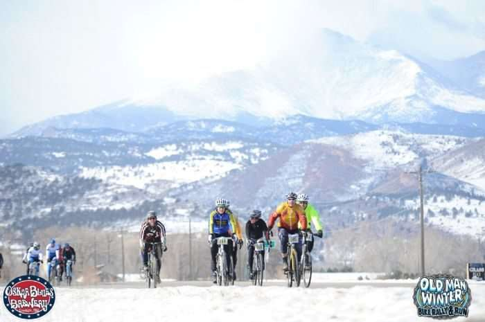 50k Riders take on the flat and rolling roads with Long's Peak (14,259') soaring in the background.